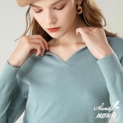 Mandy國際時尚 長袖上衣 翻領純色長袖針織上衣(10色)