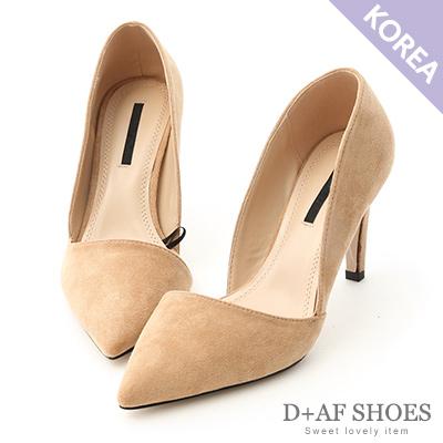 D+AF 典雅魅力.麂絨斜口尖頭高跟鞋*杏