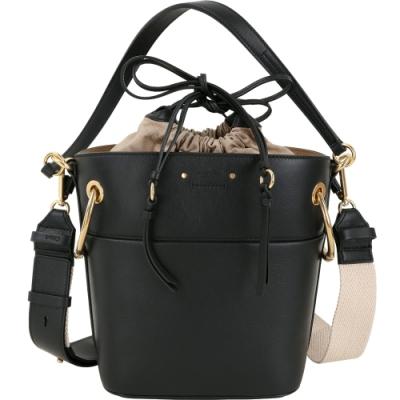 CHLOE Roy 小款 O形銅環飾小牛皮兩用水桶包(黑色)