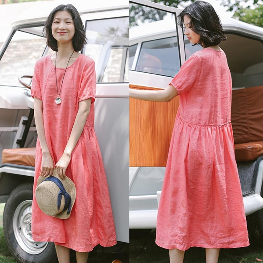 洋裝-純亞麻寬鬆棉麻-設計所在