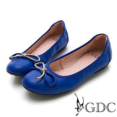 GDC-真皮基本款蝴蝶結圓頭鬆緊平底舒飾包鞋-藍色