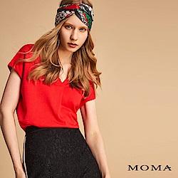 MOMA V領打褶上衣