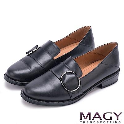 MAGY 復古潮流 氣質素面蠟感牛皮孟克鞋-黑色