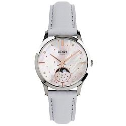Henry London 閃耀晶鑽月相真皮手錶-珍珠貝X灰/35mm