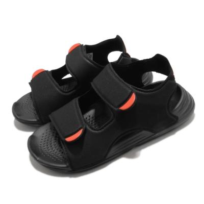 adidas 涼鞋 Swim Sandals C 童鞋 愛迪達 魔鬼氈 外出 郊遊 踏青 黑 橘紅 FY8936