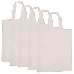 JAKO-O 德國野酷 創意手作-素色購物袋-一組5入(收納袋/環保袋/棉布袋/手提袋)