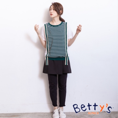 betty's貝蒂思 腰間鬆緊側壓織帶棉褲(黑色)