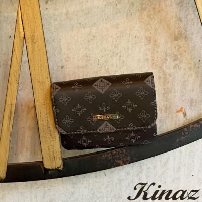 KINAZ 緹花三層萬用鑰匙零錢包-太妃糖系列-快