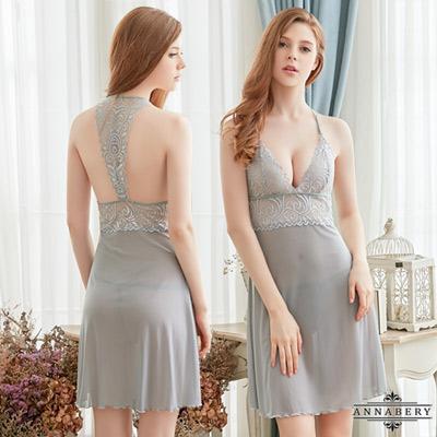 Annabery大尺碼優雅氣質灰美背柔紗二件式性感睡衣 灰 L-2L
