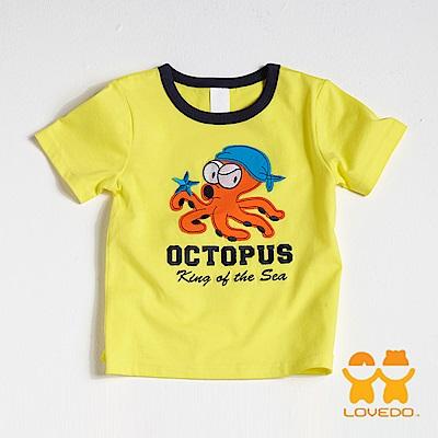 【LOVEDO-艾唯多童裝】章魚海盜王 拼布短袖T恤 (黃)