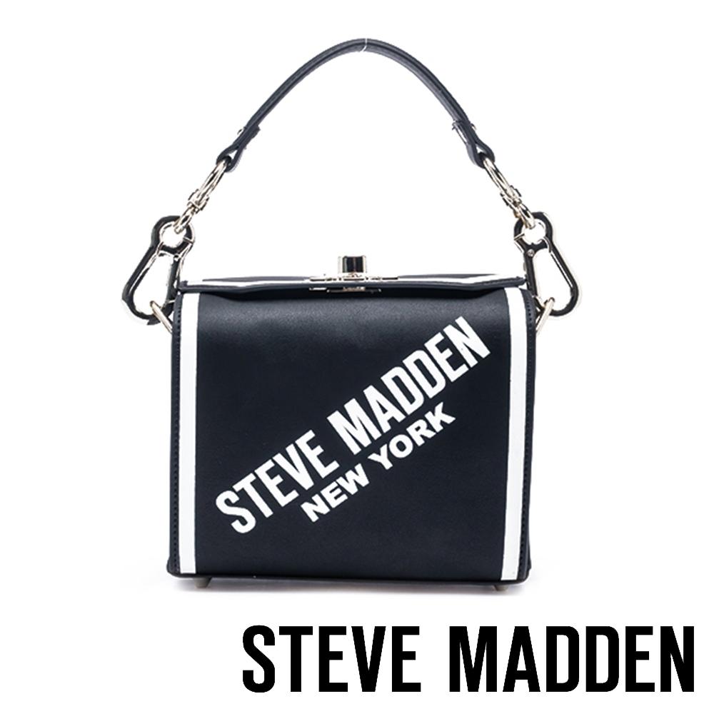 STEVE MADDEN-BMAXED 時尚紐約字樣手提斜背兩用包-黑色