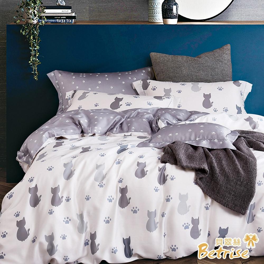 (贈植物精油防蚊扣)Betrise100%奧地利天絲鋪棉兩用被床包組-單/雙/大均價 (貓說午後)