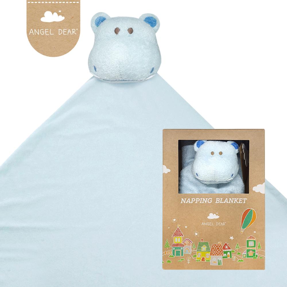 美國 Angel Dear 大頭動物嬰兒毛毯禮盒版 (藍色河馬)