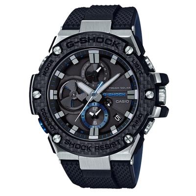 G-SHOCK輕量化高強度碳纖維結構智慧藍牙錶(GST-B 100 XA- 1 )黑 53 . 8