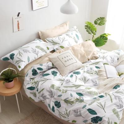 La Lune MIT頂級精梳棉200織紗雙人加大床包新式兩用被五件組 舞葉弄情