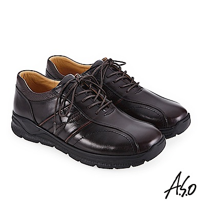 A.S.O 3A全掌氣墊 運動機能款休閒鞋 深咖啡