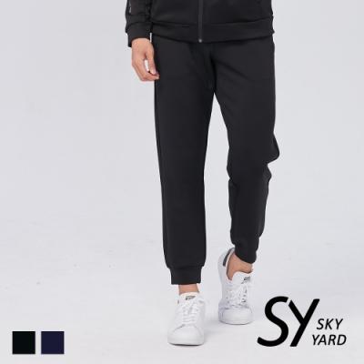【SKY YARD 天空花園】運動休閒束口長褲-黑色