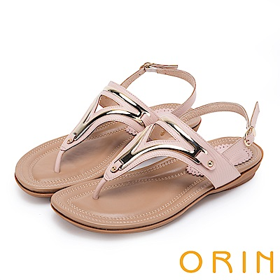 ORIN 夏日時尚風 金屬飾條牛皮夾腳涼鞋-粉紅