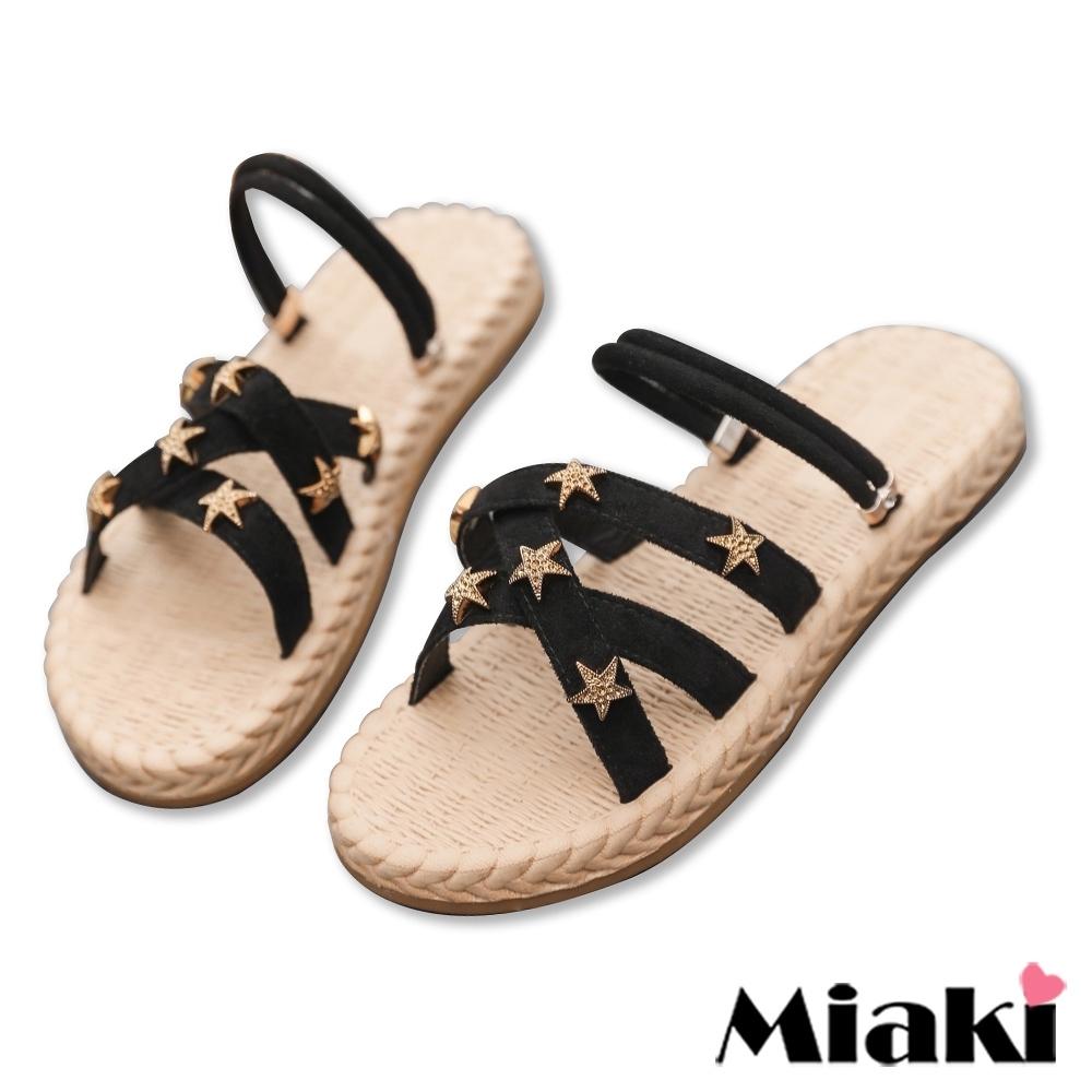 Miaki-拖鞋韓風2穿麻編造型涼鞋-黑