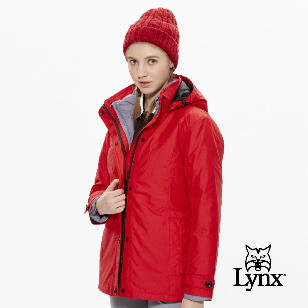 【Lynx Golf】女款防水防風透氣兩件式可拆連帽長袖外套-紅色