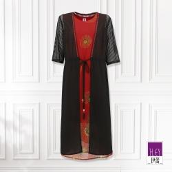 ILEY伊蕾 濃郁感印花兩件式長版洋裝(紅)