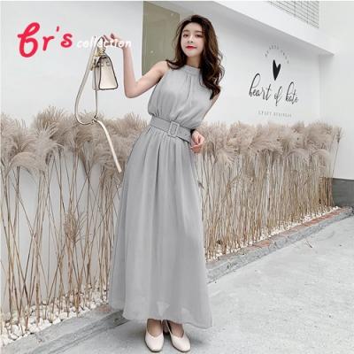 【brs】無袖雪紡皮帶連身裙洋裝-2色