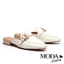 拖鞋 MODA Luxury 復古潮流跳色飾釦繫帶羊皮穆勒低跟拖鞋-白
