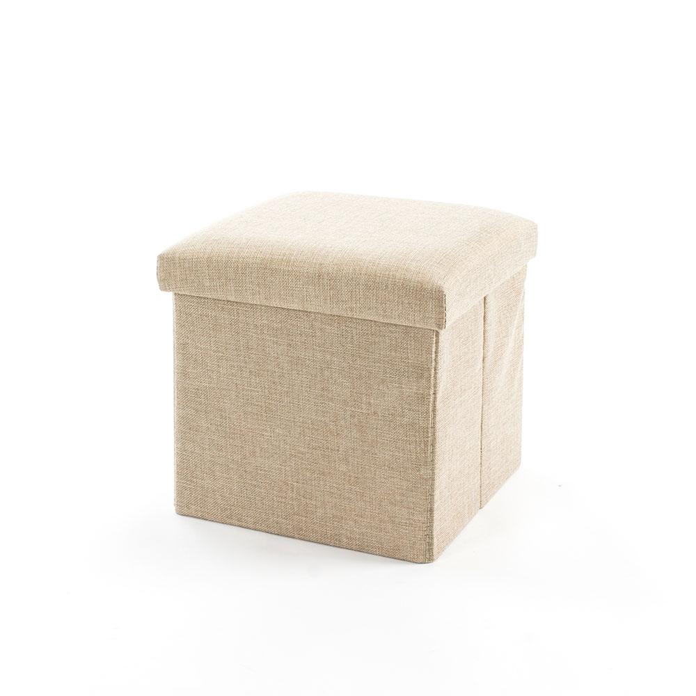 樂嫚妮 棉麻折疊收納椅凳/穿鞋凳/收納箱-27L-米