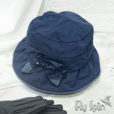 FLYSPIN秋冬保暖防潑水防風手工花朵淑女時裝帽