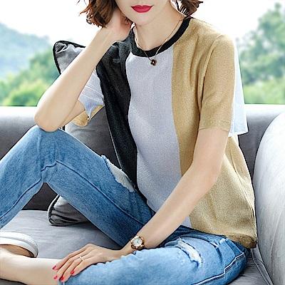 綻放  時尚撞色條紋短袖上衣-共2色-(M-2XL可選)