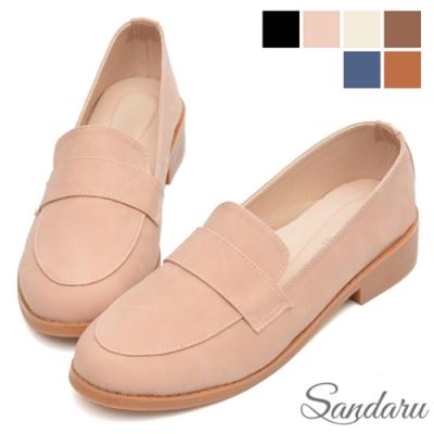山打努SANDARU- 大尺碼鞋 紳士鞋 全素面磨砂皮革低跟鞋-粉