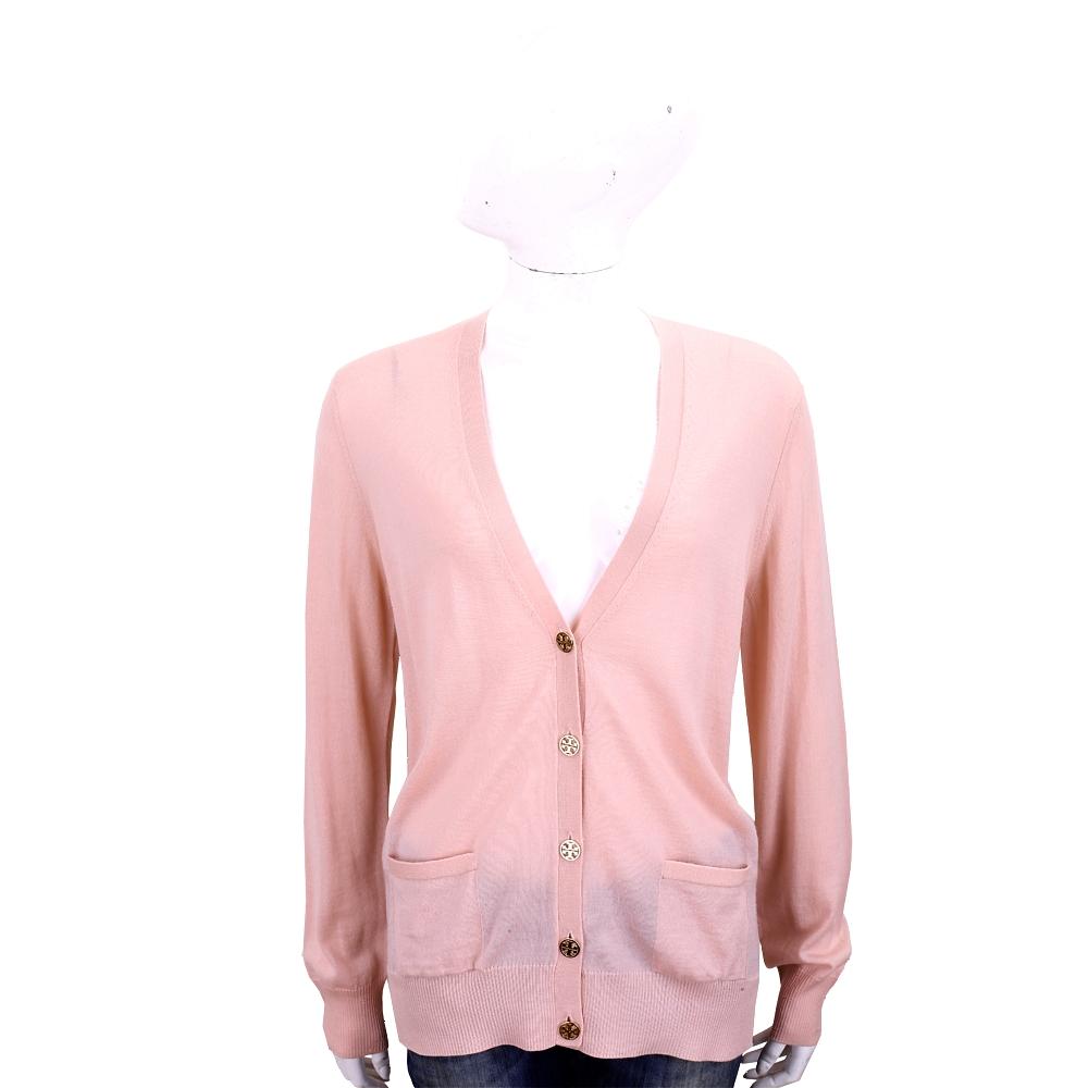 TORY BURCH Madeline 雙T金釦粉色開襟羊毛衫