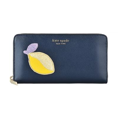 Kate Spade Fruitful金字LOGO編織檸檬設計牛皮 12卡拉鍊長夾(午夜藍)