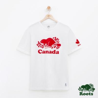 男裝Roots 加拿大系列短袖T恤-白色