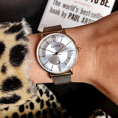 ADEXE 英國時尚手錶 MAC日期顯示系列 白錶盤x金錶框米蘭錶帶32.5mm