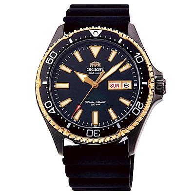 ORIENT東方200m潛水機械錶手錶RA-AA0005B-黑X金框/41.8mm