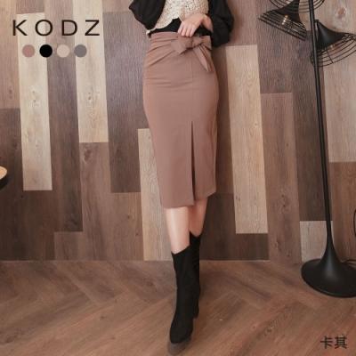 東京著衣-KODZ魅力曲線綁結抓皺側開衩多色中長裙-S.M.L.XL(共四色)