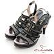 【CUMAR】鏤空鑽飾防水台高跟涼鞋-黑色 product thumbnail 1