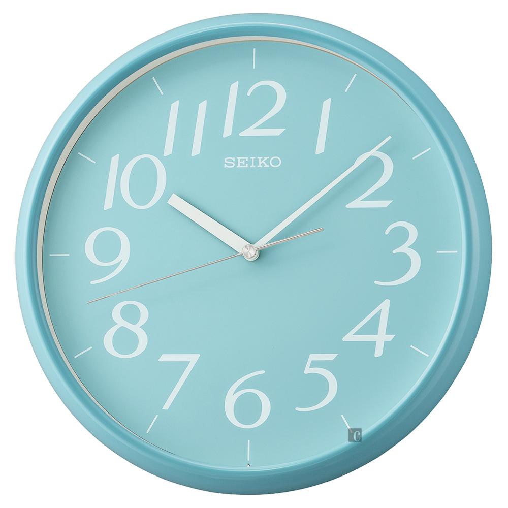 SEIKO精工 潔淨簡約時尚 掛鐘(QXA719L)-水藍/28cm