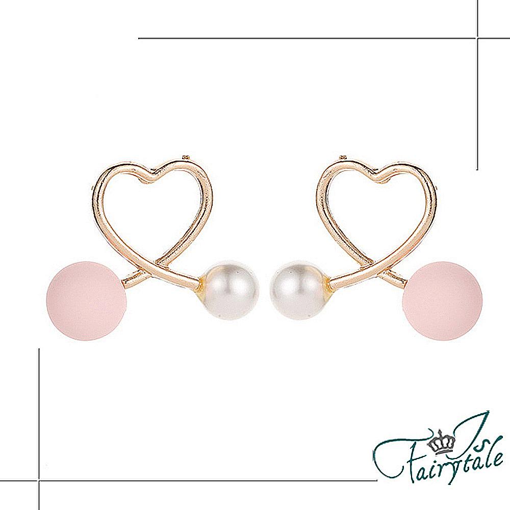 iSFairytale伊飾童話 愛心粉珍珠 流線交錯鏤空耳環