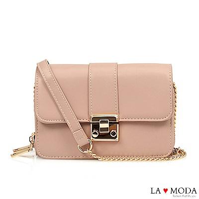 La Moda 輕鬆出遊大容量多夾層鏈帶小方包(粉)