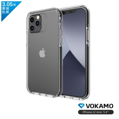 VOKAMO Smult iPhone 12 mini (5.4吋)專用 美軍規3.05米防摔晶透保護殼-防摔衣原料邊條(3色可選)