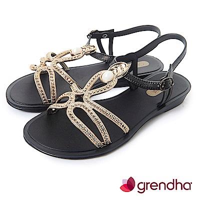 Grendha 布達佩斯冰石平底涼鞋-黑色