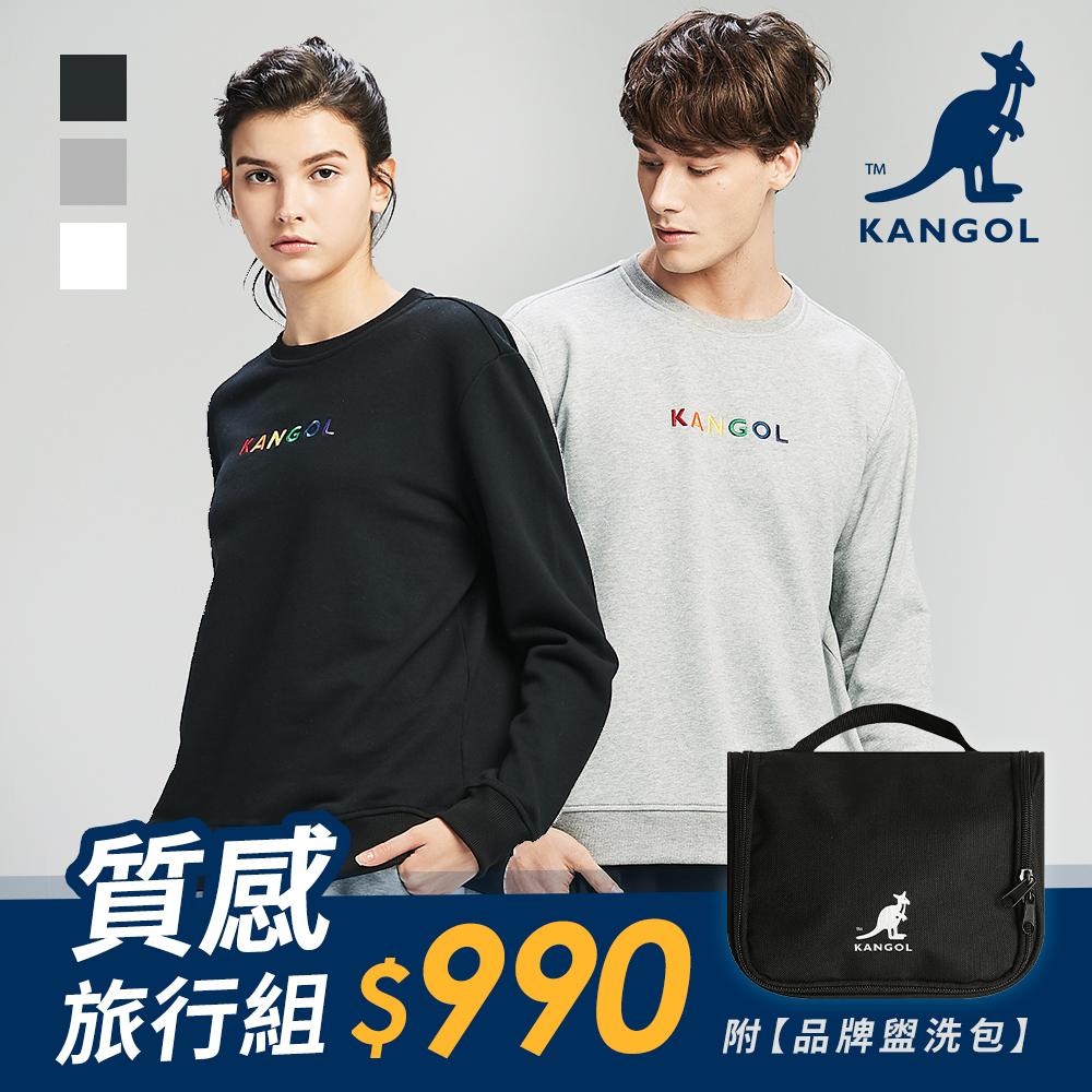 [時時樂]【KANGOL】彩色LOGO印花大學T-中性款-白/灰/黑+盥洗包