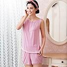 華歌爾睡衣-居家休閒二件式 M-L 無袖衣褲裝(點點粉)