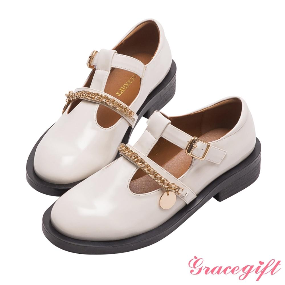 Grace gift-鍊條厚底瑪莉珍鞋 米漆