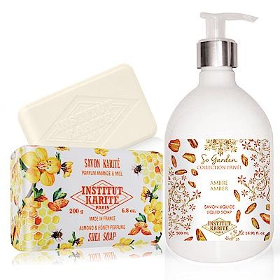 IKP 巴黎乳油木 琥珀花園香氛液體皂500ml+杏仁蜂蜜手工皂200g