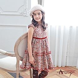 Annys可愛復古小碎花花瓣裙擺公主袖洋裝*7229卡其