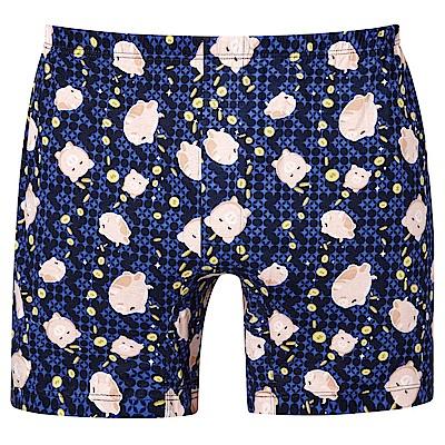 DADADO-財源滾滾 M-3L 印花平口內褲(藍)