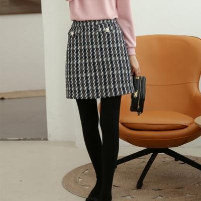 設計所在Lady-千鳥格A字裙時尚高腰短裙(二色S-XL可選)